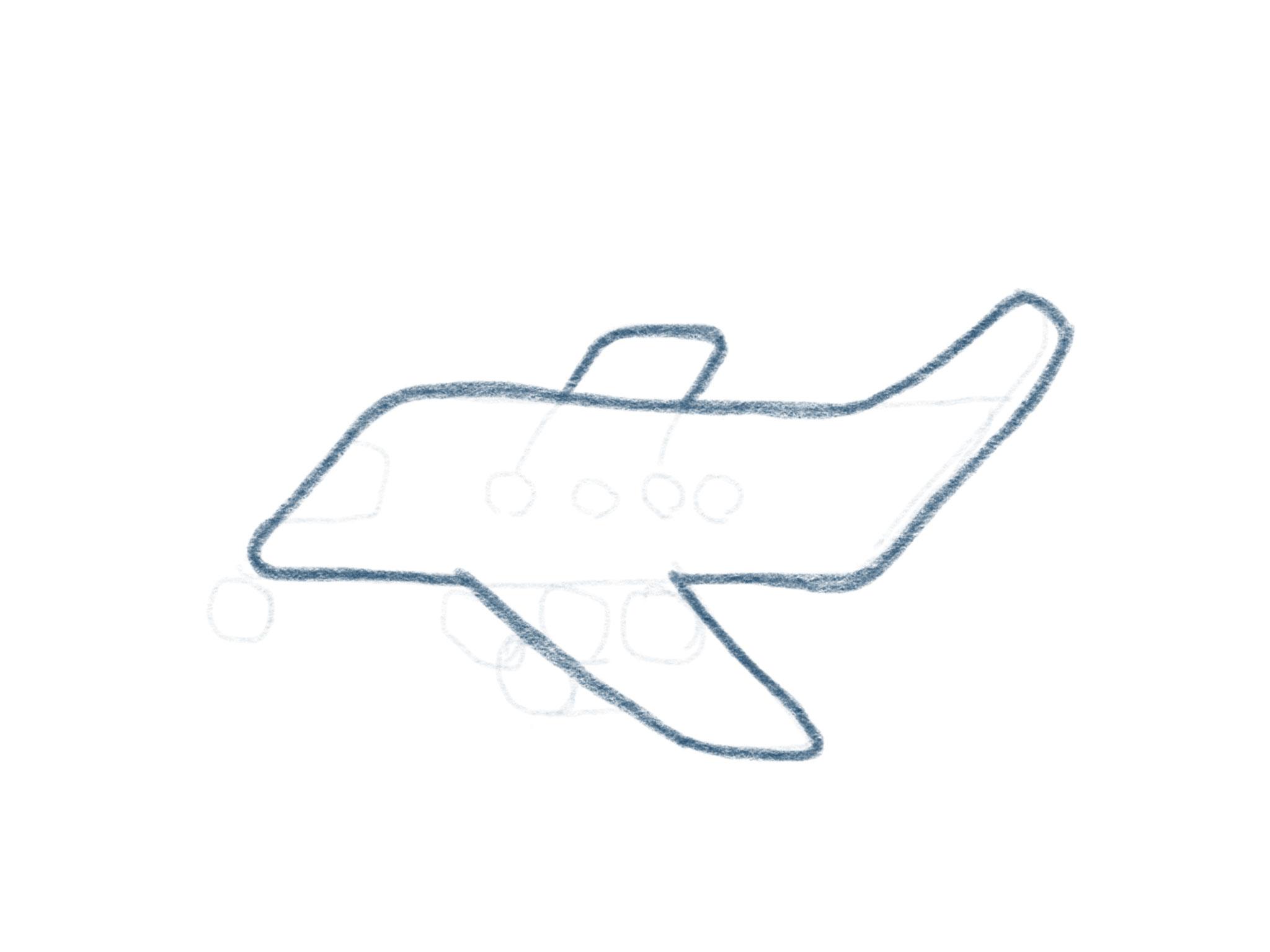Flugzeug Zeichnen Kontur