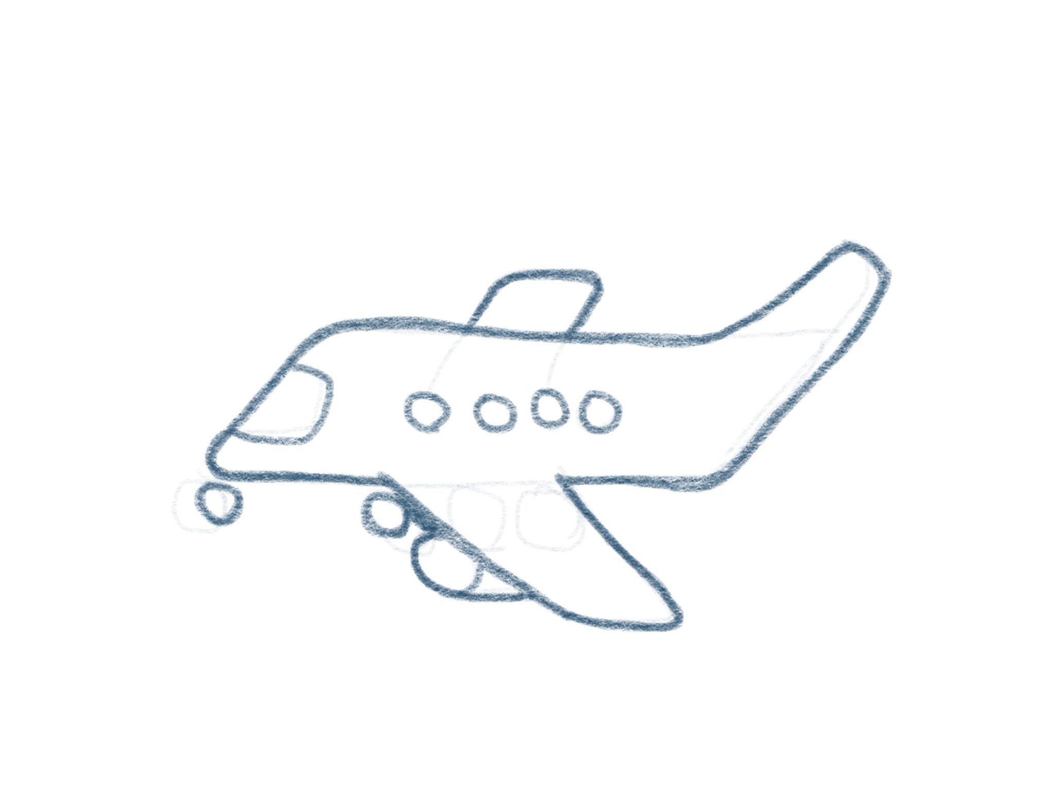 Flugzeug Zeichnen Kontur Details