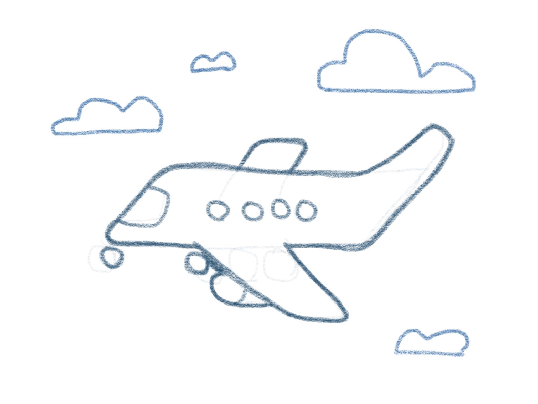 Flugzeug Zeichnen Wolken