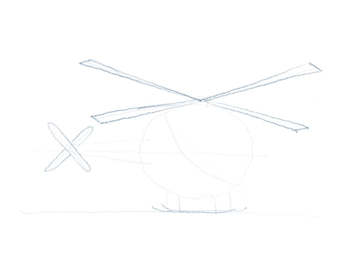 Hubschrauber zeichnen - Rotorblätter zeichnen