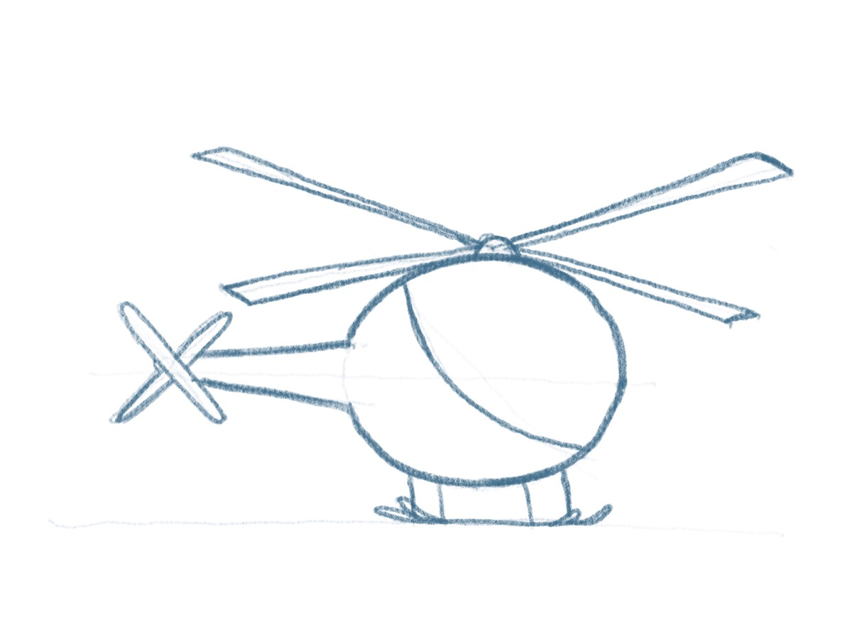 Hubschrauber zeichnen - Starke Konturen zeichnen