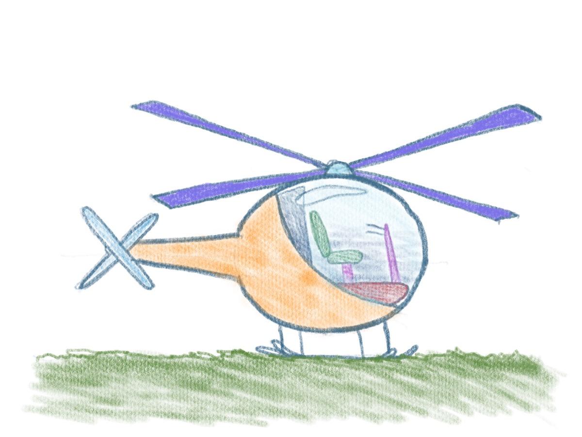 Hubschrauber zeichnen - Rasen darstellen