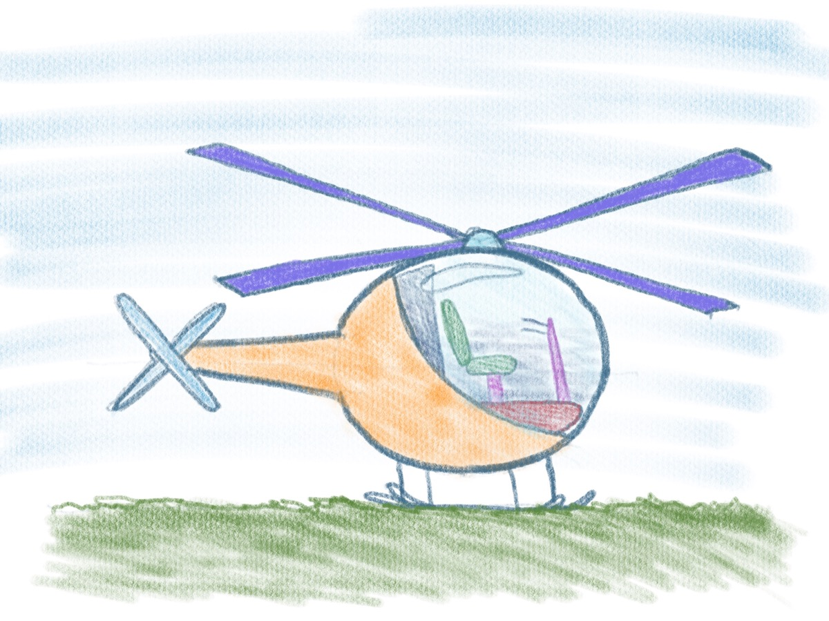 Hubschrauber zeichnen - Fertiges Bild