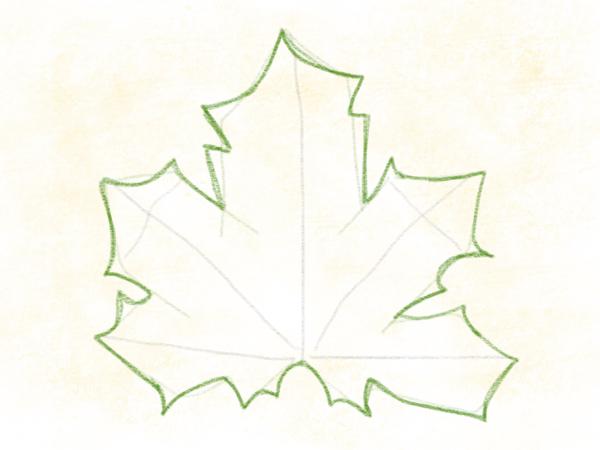 Kastanienblatt zeichnen – 10
