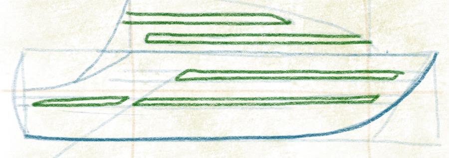 Luxusyacht zeichnen - Fenster Konturen zeichnen