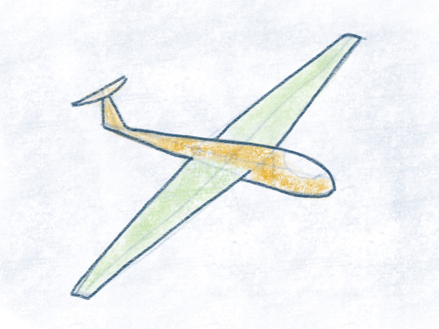 Segelflugzeug - Flügel ausmalen