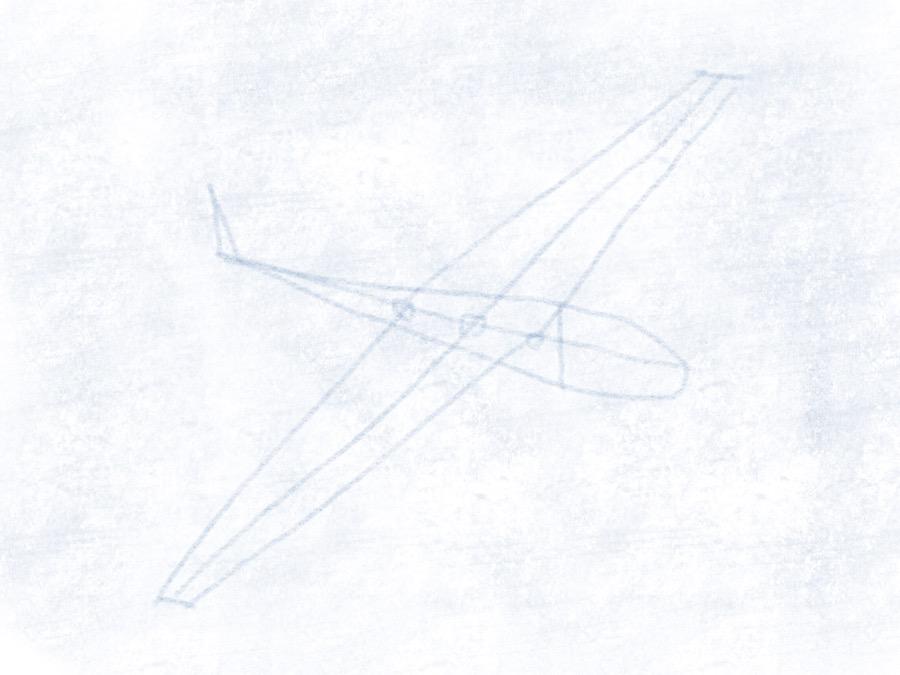 Segelflugzeug - Flügel einzeichnen